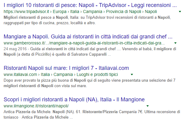Screen keyword ristoranti